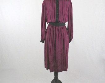 1980s Striped Secretary Dress by DW3 Pockets