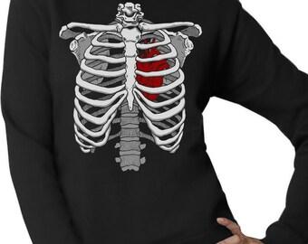 Halloween Skeleton Rib Cage Heart Costume - Women's Crewneck Sweatshirt