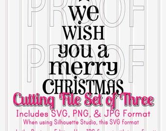 Christmas SVG Cut File Set of 3 Cut File Designs in SVG, PNG, & jpg formats. Christmas svg Christmas Tree Cut File Merry Christmas