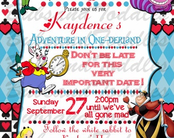 Disney Alice in Wonderland Birthday Invitations, Invites