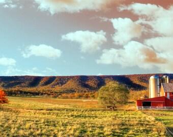 Farmland sunset panorama, HDR photograph, Blue, green, red, yellow, pink, panoramic fine photography prints, Appalachian Sundown
