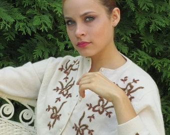 1950s 1960s Cream Hand Beaded Cardigan Pin-up Sweater with Copper Beading - Made in Hong Kong