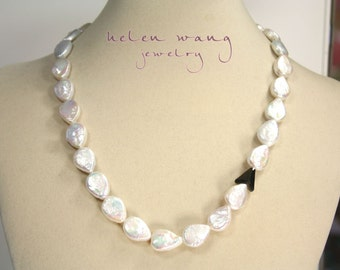 Natural Biwa Pear Pearl Necklace with a touch of Swarovski Crystal & Oxidized Sterling Silver Closure