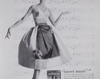 MAIDENFORM BRA I Dreamed I Made Sweet Music... Original 1950s Vintage Ad Womens Lingerie Fashion Bedroom Bathroom Decor Ready To Frame