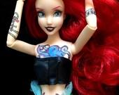 Custom Mermaid Doll Punk Ariel Tattoo Tattooed Doll Hipster Pin Up Repainted Custom Doll OOAK Little Mermaid Gift Collector