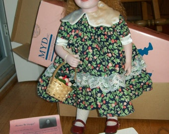 "Marian Yu 16"" Bisque/porcelain doll hand painted with original clothes and box"