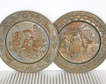 Pub Life - Set of 2 Vintage Large Round Metal Scenic Plates, Wall Hangings, Embossed Plaques with English Pub Tavern Scenes, Made in England