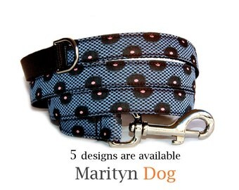 Dog leash Menwear inspired jacquard fabric dog leash Blue green balck white red boy dog leash  Marching dog collar dog harness are available