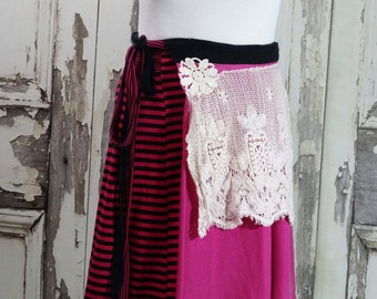 Plus Size Pink and Black Upcycled Clothing Tshirt Wrap Skirt Boho Chic Junk Gypsy Wearable Art Clothing