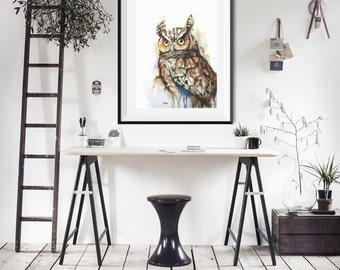 Owl Watercolor painting print/ watercolor painting-bird watercolor-shabby chic decor, cottage, home, minimalist