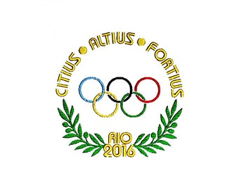 Olympic Games Motto Emblems 2016 Rio Brazil. Citius, Altius, Fortius Embroidery Design.