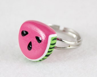 Watermelon Ring - Adjustable Ring - Polymer Clay Ring - Watermelon Jewelry - Fruit Ring - Fruit Jewelry - Food Ring - Food Jewelry