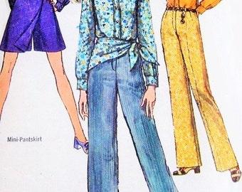 60s RETRO Mini-Pantskirt Skort, Shirt, Hiphugger Pants and Scarf Pattern Simplicity 8400 Bust 34 Vintage Sewing Pattern FACTORY FOLDED Uncut