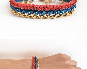 Boho tassel bracelet, crochet bracelet with chunky chain, coral and turquoise bracelet with tassel charm