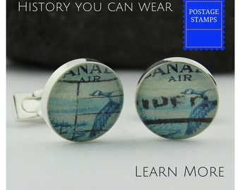 Canada Cufflinks.  Handmade Unique Canadian Goose Stamp Custom Cufflinks.  These Blue Cuff Links for Men are Great Corporate Gifts.