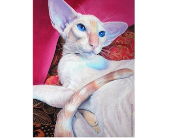 Siamese Cat Original Painting Print. Red Flame Point Siamese Cat Giclee Print