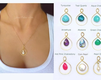 Pick Your Gemstone Necklace, Gemstone Pendant Necklace, Dainty Necklace Gold or Sterling Silver, Personalized Jewelry, Gift For Her Under 40