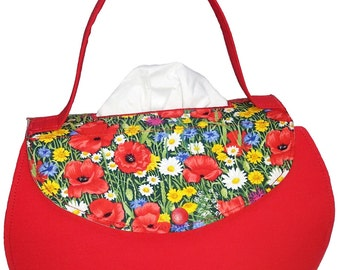 Red handbag with poppies - cosmetics box cover - fabric tissue box cover