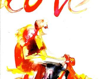 Summer Vacation, Love Romantic Art Print, Love Watercolor Painting, Wanderlust Illustration by Lana Moes, Beach Art, California Wall Art