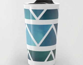 Blue Travel Mug - Blue Triangle Art - Coffee Travel Mug - Hot or Cold Travel Mug - 12oz Travel Mug - Made to Order