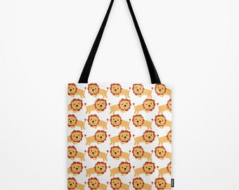 Lion Kids Tote Bag - Book Bag - Grocery Bag - Beach Bag - Lots of Lions -  Made to Order