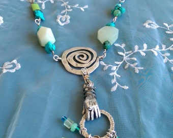 Necklace Green, Blue, Black Stones Key Gift