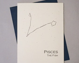 Pisces Constellation Zodiac Sign Birthday Card / Horoscope / Astrology  Astronomy Card / February - March Birthday