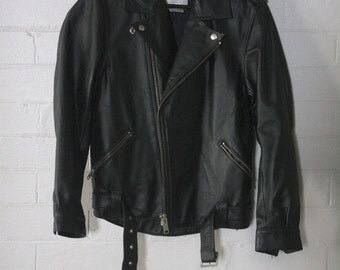 Black Leather Biker Jacket - Excellent Condition
