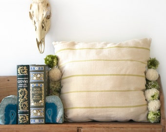 Cream/Green Stripe Linen Pillow with Jumbo Poms