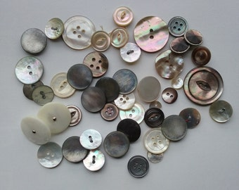 1930s Antique Real Abalone Shell and Mother of Pearl Buttons Lot of 46 Crafts