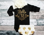 Baby Shower Gift Hello World Baby Girls Bodysuit Baby Clothes Sparkly Glitter Bodysuit Baby Girl Outfit Infant Clothing #34
