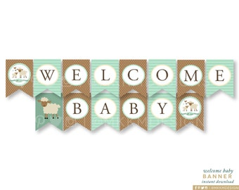 Lamb Banner, Welcome Baby Banner, Lamb Baby Shower, Rustic Baby Shower Decor, Storybook Shower, Mint and Brown, INSTANT DOWNLOAD, #2403