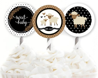 Little Lamb Cupcake Toppers, Lamb Baby Shower, Woodland Party Decor, Storybook Baby Shower, Black and White Party, INSTANT DOWNLOAD, #2403