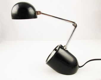 A 'Pixar' Style Small Black Lamp - 1960-70s - Adjustable Lamp With Weighted Base - Made in Hong Kong - Retro Style - Multiple Positions