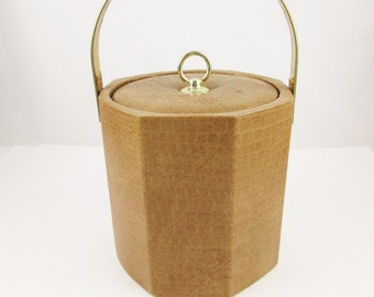 Ice Bucket With Buff/Tan Color Vinyl Textured Outside - Brass Movable Handle - White Plastic Interior - Cool Style - Tan Snakeskin Texture