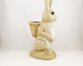 "Indoor or Outdoor Rabbit With Basket - A Hard Plastic Garden Character - 20"" Tall - Brown Bead Eyes - Easter Bunny - Fill Up The Basket"