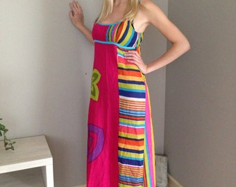Vintage maxi dress Long bright floral dress Multicolored maxi dress Maxi summer dress Spaghetti Straps