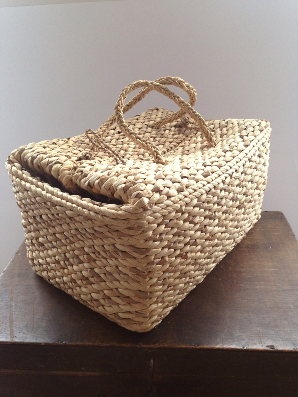 How to weave a basket out of hay : Vintage large straw bag woven picnic summer wicker