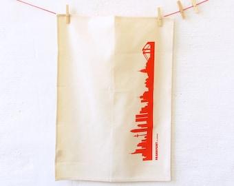 Frankfurt red Dish Towel, Frankfurt tea towel, green gift, Frankfurt skyline print, Kitchen Decor, Frankfurt hostess gift, Novalty towel