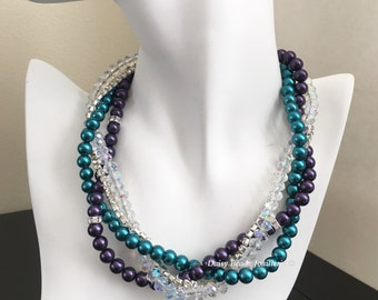 Teal and Dark Purple Necklace, Bridesmaid Necklace, Multistrand Pearl Necklace, Pearl Necklace, Teal Necklace, Maid of Honor Gift