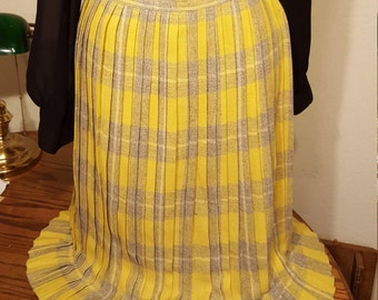 Grey and Yellow Plaid Skirt