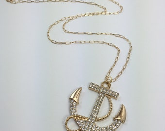 Oversized Anchor Crystal Necklace