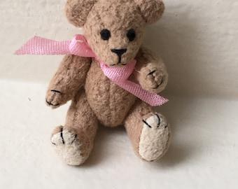 Miniature Tan Bear with Pink Bow   (JL)
