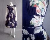 1940s dress / dark florals dress / 40s silk floral dress
