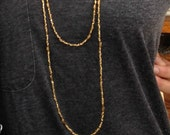 """Ethiopian brass bead necklace.  96"""" continuous strand necklace.  Brass beads on bead wire.  Gift for her.  FREE SHIPPING."""
