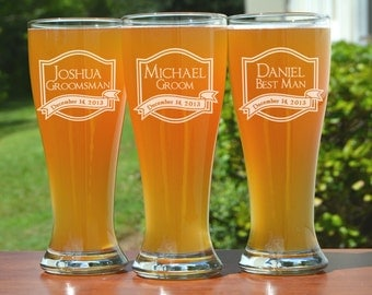 Groomsmen Gift, Personalized Pilsner Glasses, 2 Custom Beer Mugs, Best Man Gifts, Wedding Favor, Wedding Party Gift, Father of the Bride