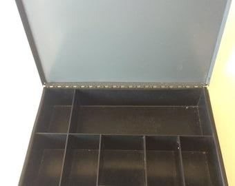 Industrial Metal Cash Box Grey Metal Cash Box by Hunt Lit-ning Vintage Retro Storage Box Lit-NIng Cash Box Rustic Industrial Storage Box