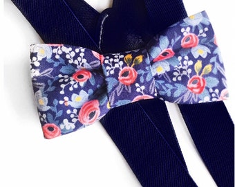 blue floral bow tie & suspender set,suspenders,baby suspenders,boy bow tie,floral bow tie,riflepaper bow tie,adult child suspender,wedding