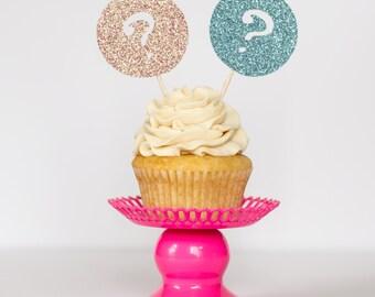 Gender Reveal Glitter Cupcake Toppers : Baby Shower/Gender Reveal - 1 Dozen