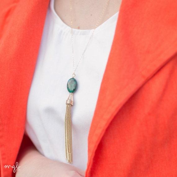 Gold Tassel Necklace, Long Tassel, Boho Necklace, Long Gold Necklace, Long Necklace, Turquoise Necklace, Turquoise Pendant, Teal Necklace